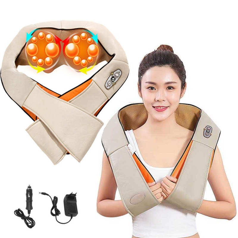 Electrical-4D-shawl-Electric Shiatsu neck Shoulder Massager Back Neck massager of neck kneading Infrared Car Shopstop al