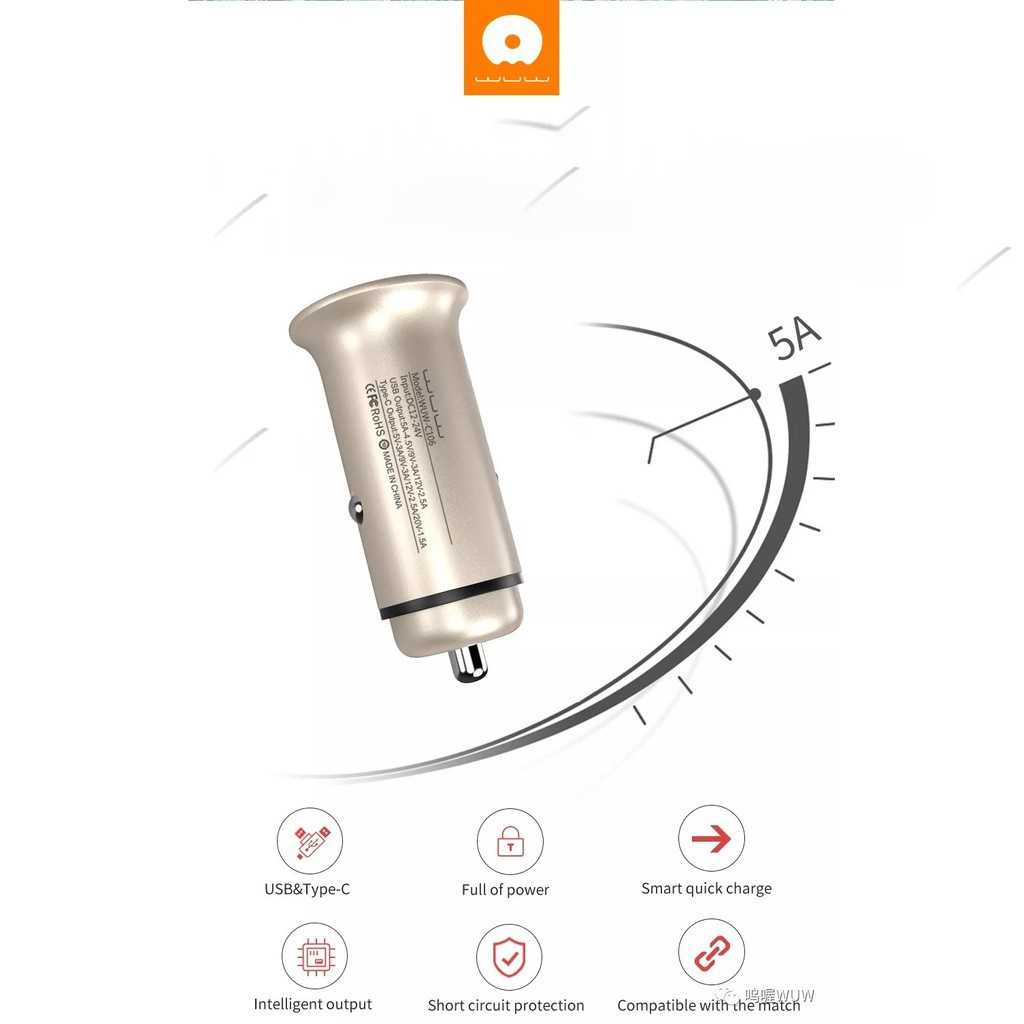 wu c 106 car charger 1 USB Type C PD online Top Shop al